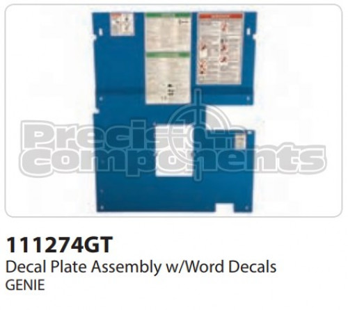 Genie Decal Plate Assembly with Word Decals - Part Number 111274