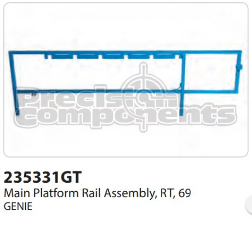 Genie Main Rail Assembly, RT 69 - Part Number 235331