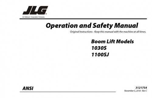 2018 jlg operation and safety manual: 1030s and 1100sj (p/n 3121754)