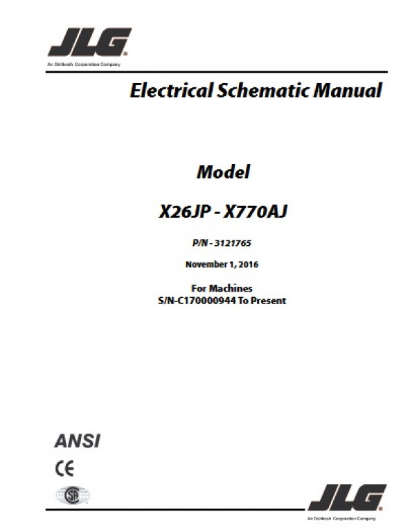 Buy 2016 JLG Electrical Schematic Manual (ANSI): X26JP ... Jlg Wiring Schematic on