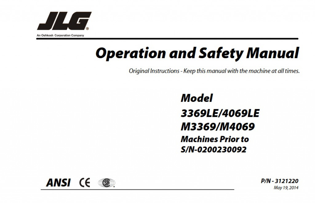 Buy 2014 JLG Operation and Safety Manual: 3369LE/4069LE and