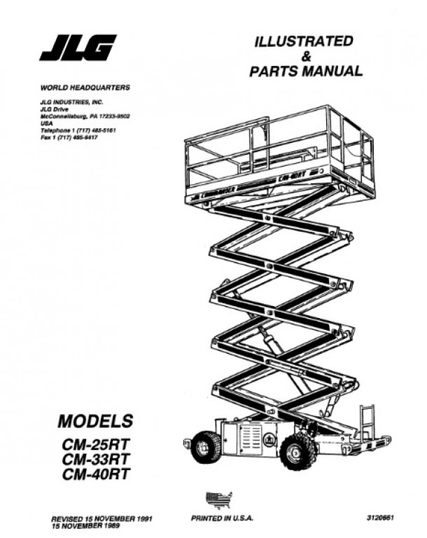 Buy 1991 JLG Illustrated & Parts Manual: CM25RT, CM33RT and