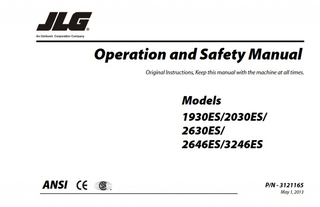 buy 2013 jlg operation and safety manual: 1930es/2030es/, 2630es/ and  2646es/3246es (p/n 3121165) scissor lifts for sale | operator & parts  manuals