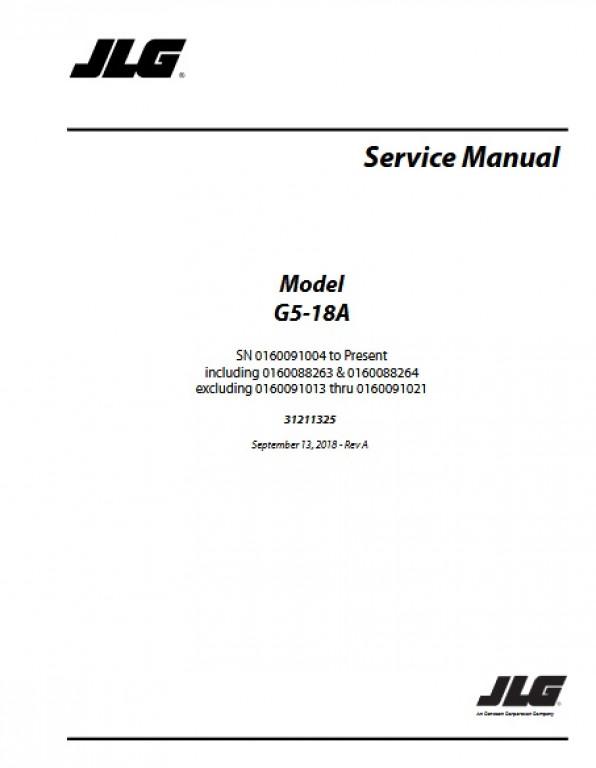 Buy 2018 JLG Service Manual G5 18A P N 31211325
