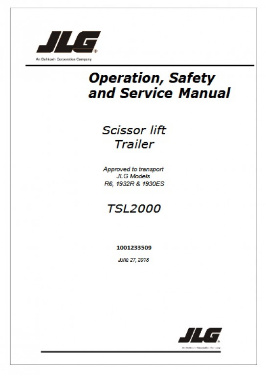 Buy 2018 JLG Operation, Safety and Service Manual: R6, 1932R