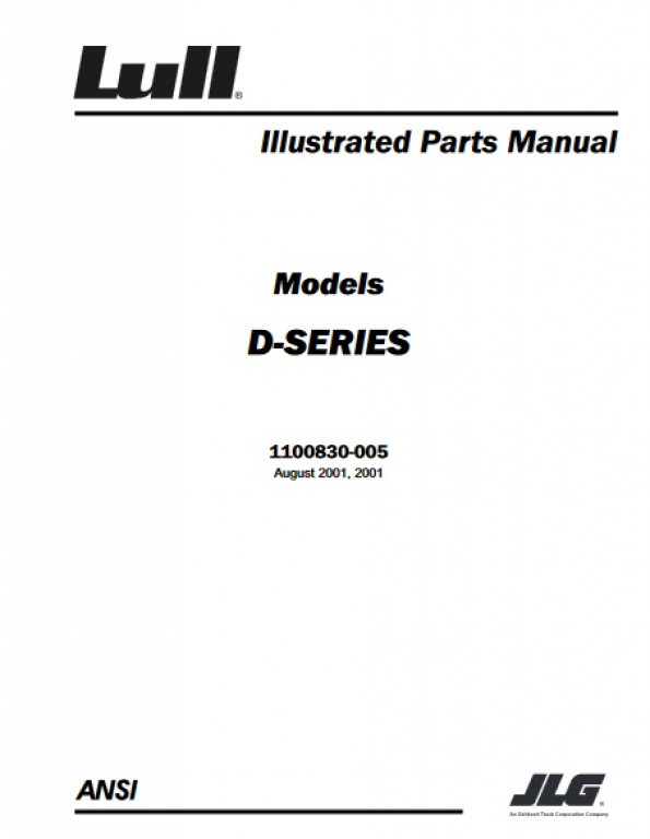 Buy 2001 JLG Illustrated Parts Manual D SERIES P N 1100830