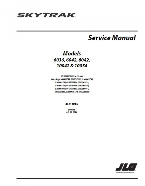 Buy 2017 JLG Service Manual 6036 6042 8042 10042 And