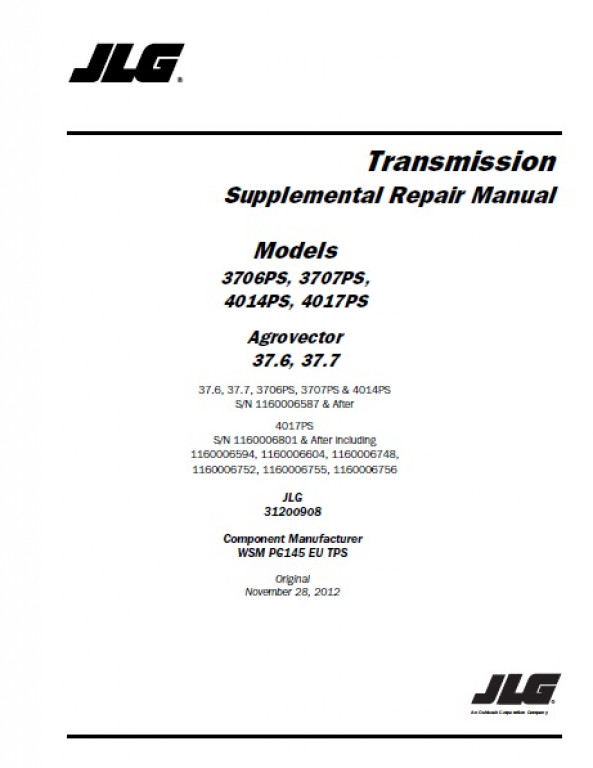 Buy 2012 JLG Transmission Supplemental Repair Manual: 3706PS