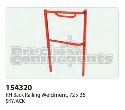 SkyJack RH Back Railing Weldment, (72 x 36) - Part Number 154320