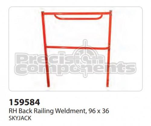 SkyJack RH Back Railing Weldment (96 x 36) - Part Number 159584